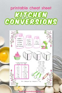 kitchen conversions cooking and baking measurement cheat sheet printable