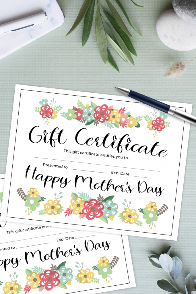 free printable Mother's Day gift certificate