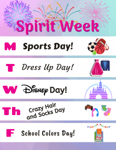 spirit week ideas and schedule