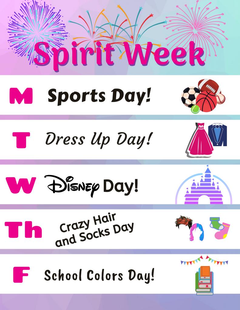 spirit week ideas and schedule