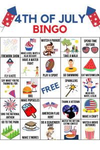 4th of July bingo activity