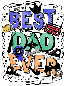 Best Dad Ever free printable coloring page for Father's Day