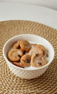 mini chocolate chip cookie cereal with milk