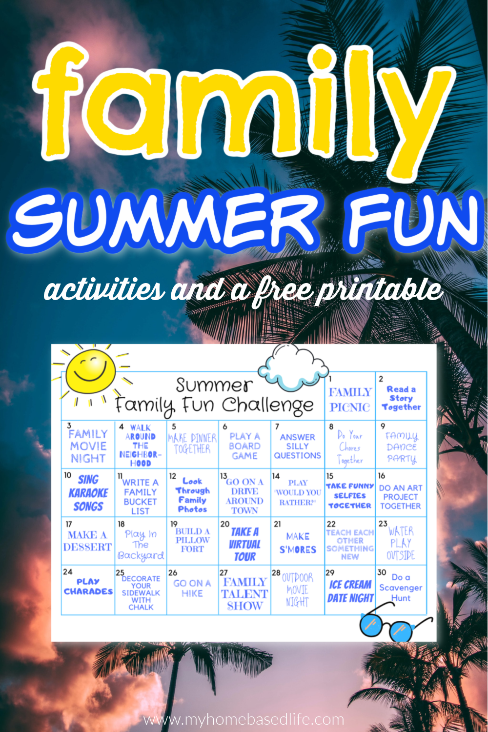 family summer fun challenge printable calendar
