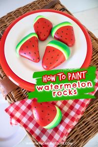 how to paint rocks like a watermelon slice