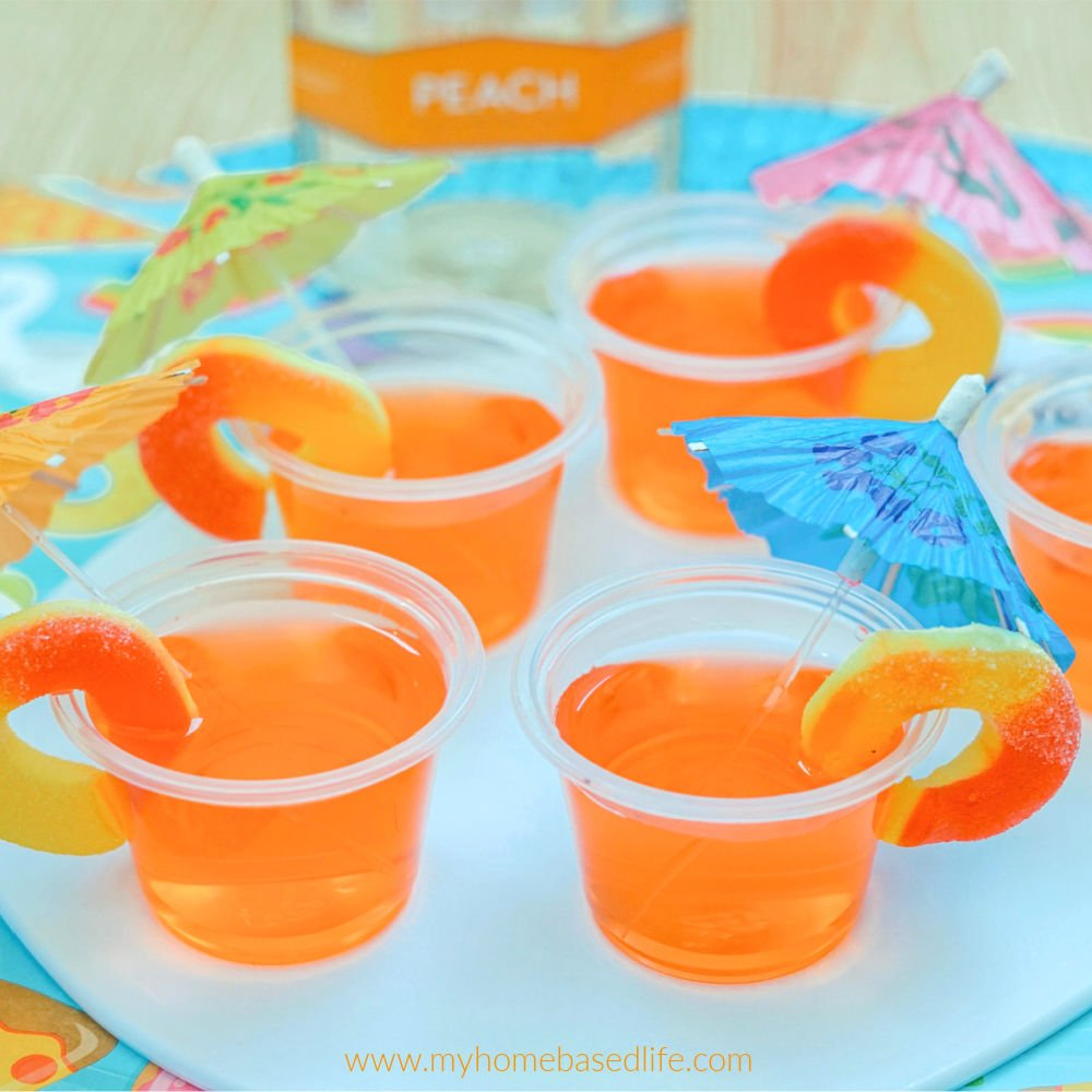fruity peach Jell-O shots