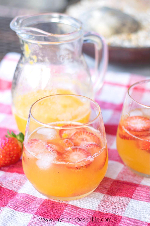 refreshing mango lemonade with strawberries
