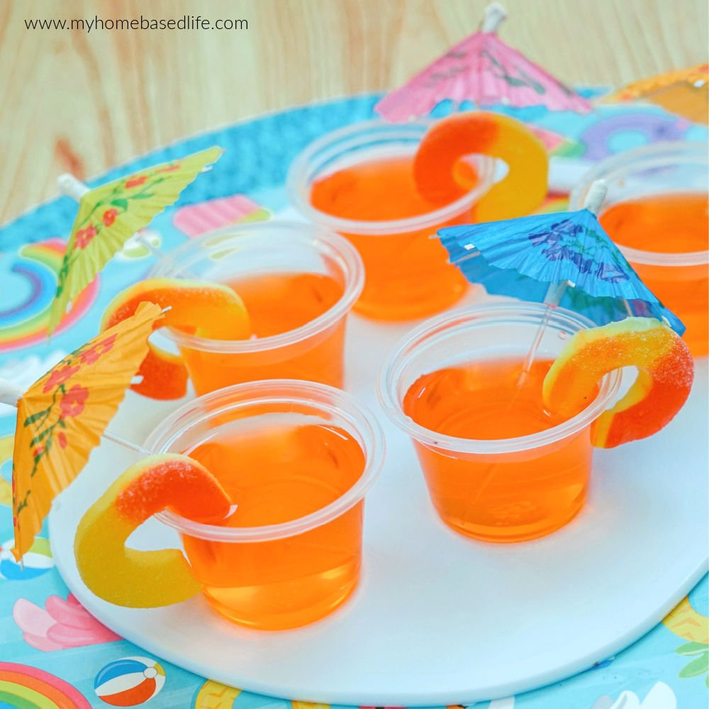 peach-y flavored jello shots