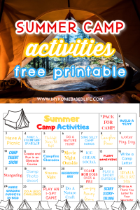 summer camp activities at home and a free printable