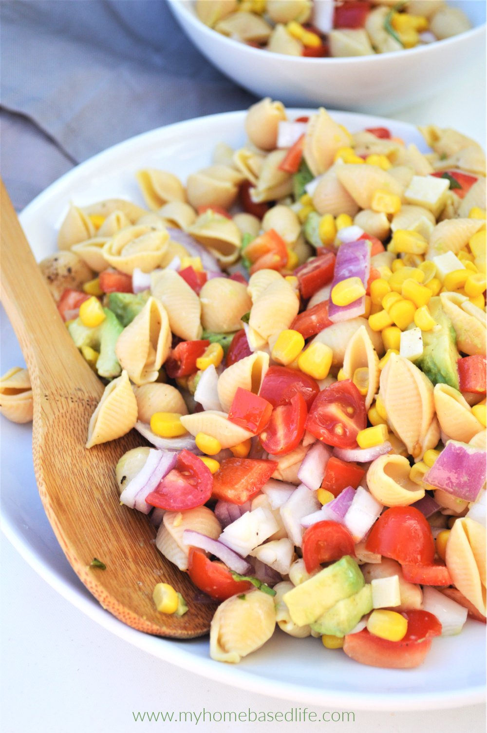 summer corn avocado tomato pasta salad