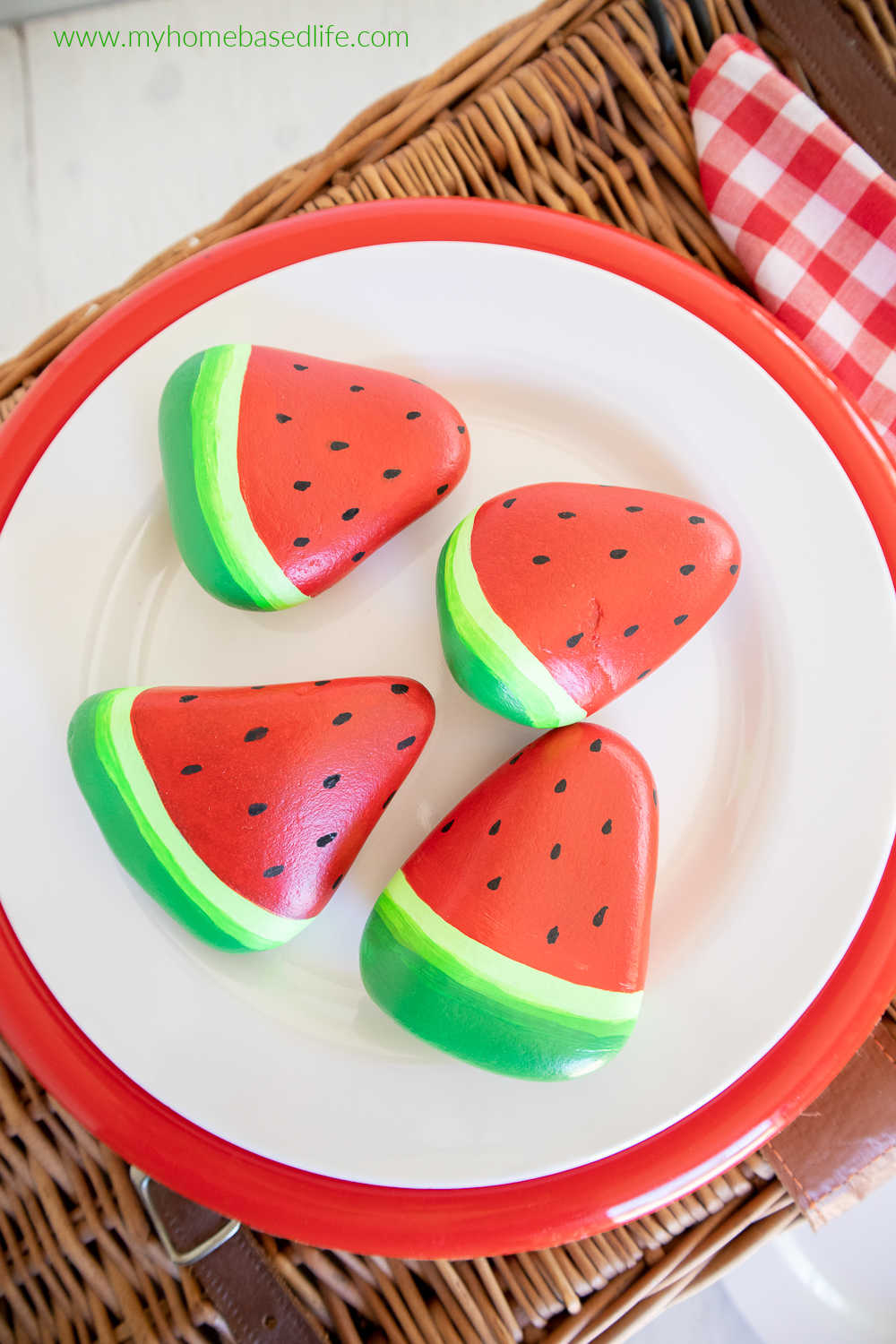watermelon painted rocks diy for kids