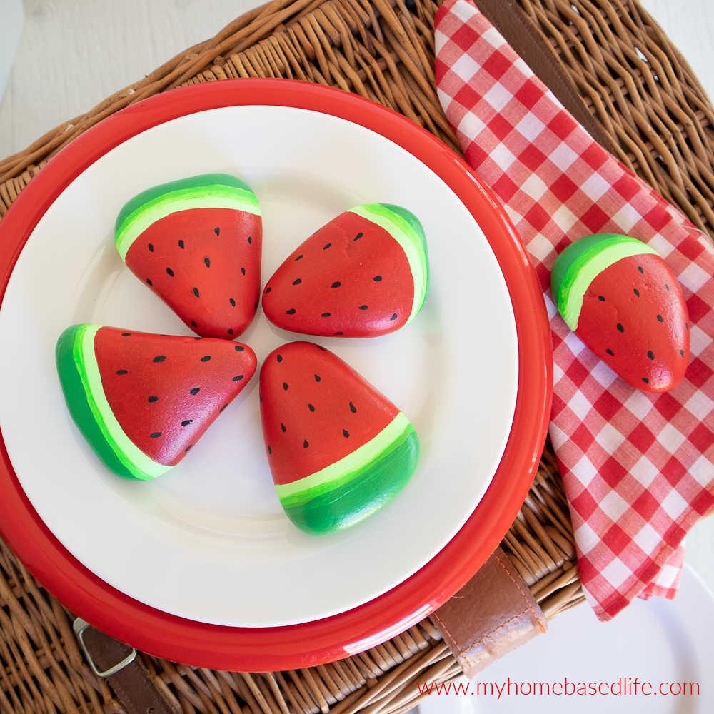 DIY watermelon painted rocks