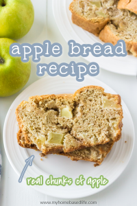 apple bread made from scratch with chunks of apples