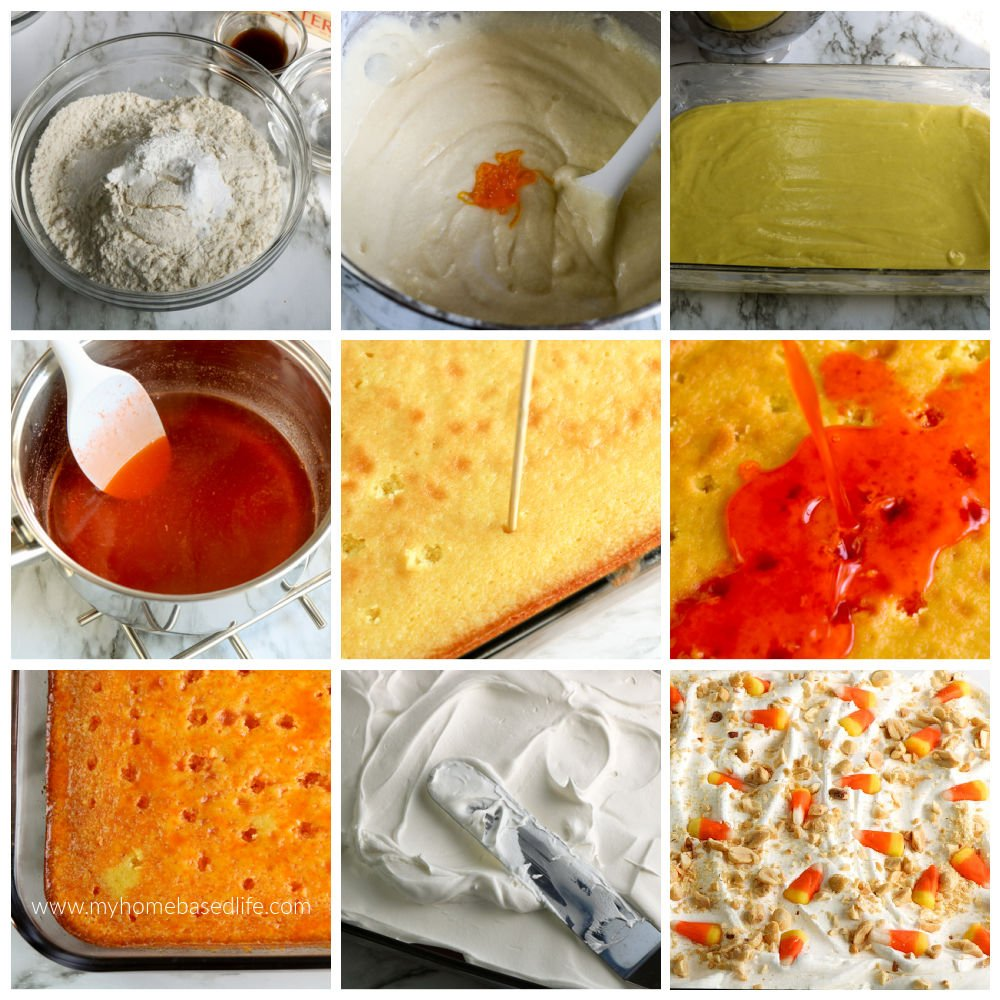 how to make candy corn poke cake