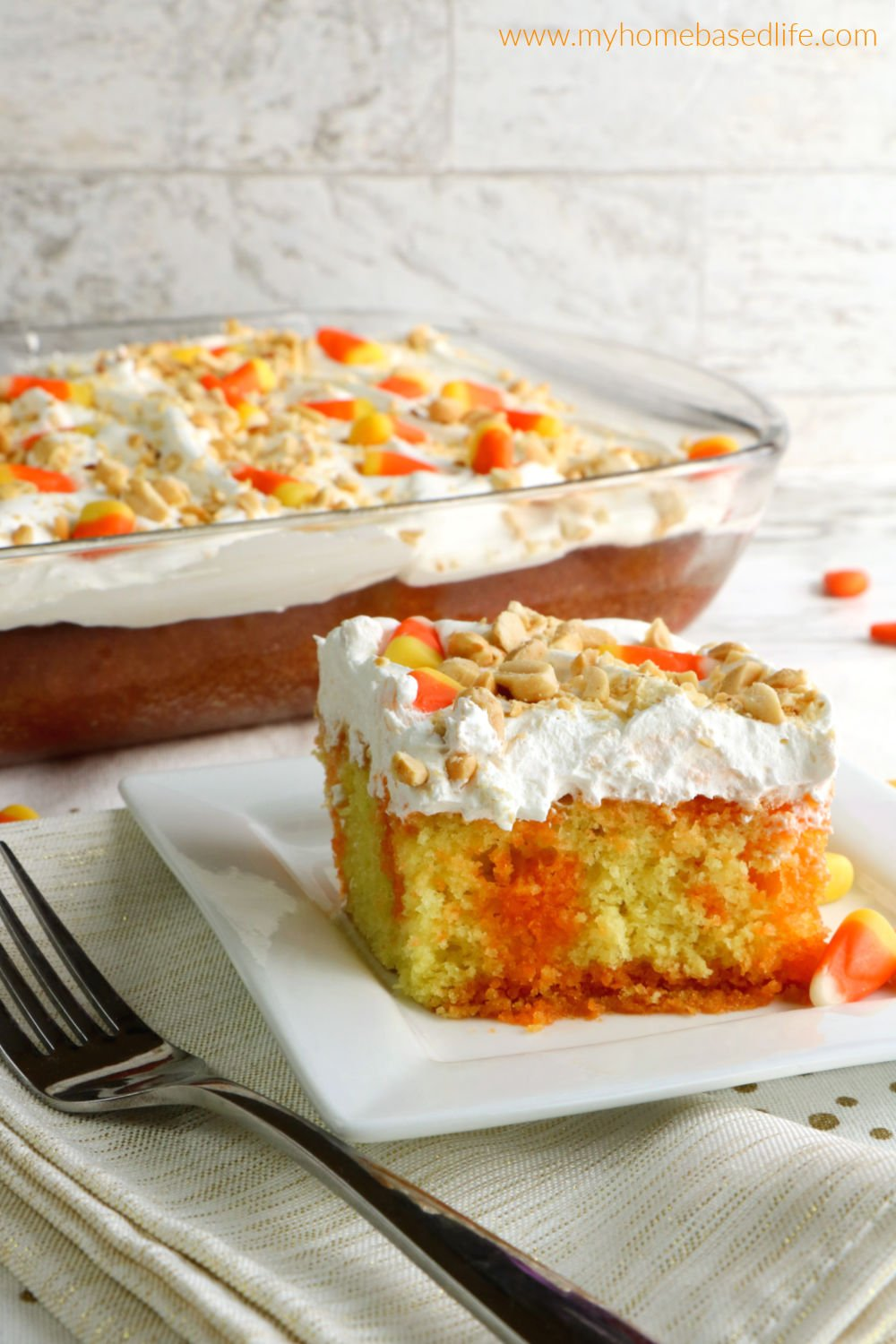 Halloween poke cake recipe with candy corn