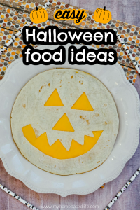 easy halloween food idea- jack-o-lantern quesadilla