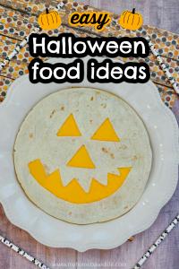 easy halloween food idea- jack-o-lantern quesadilla