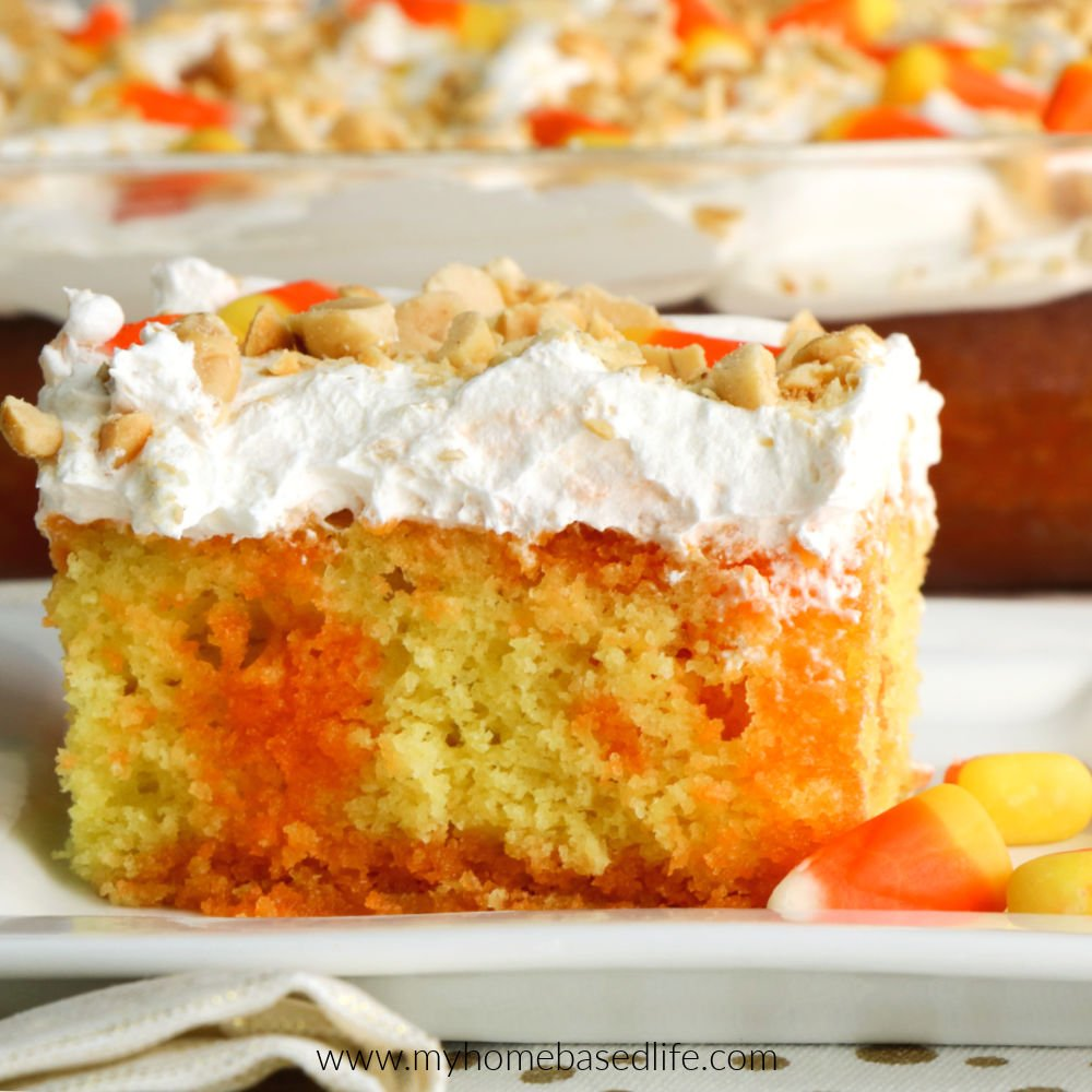 poke cake with candy corn