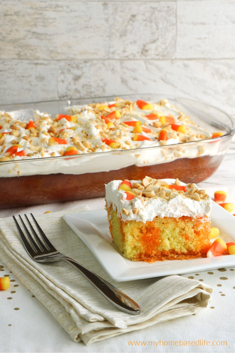 candy corn poke cake for fall and Halloween