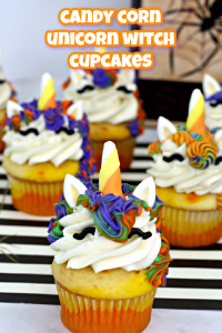 unicorn witch cupcakes for Halloween