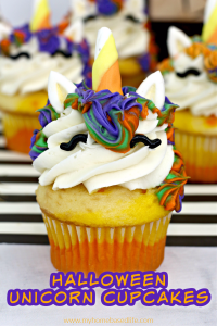 halloween unicorn witch candy corn cupcakes