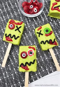 Halloween zombie Rice Krispie treat recipe