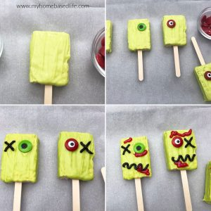 how to make zombie Rice Krispie treats