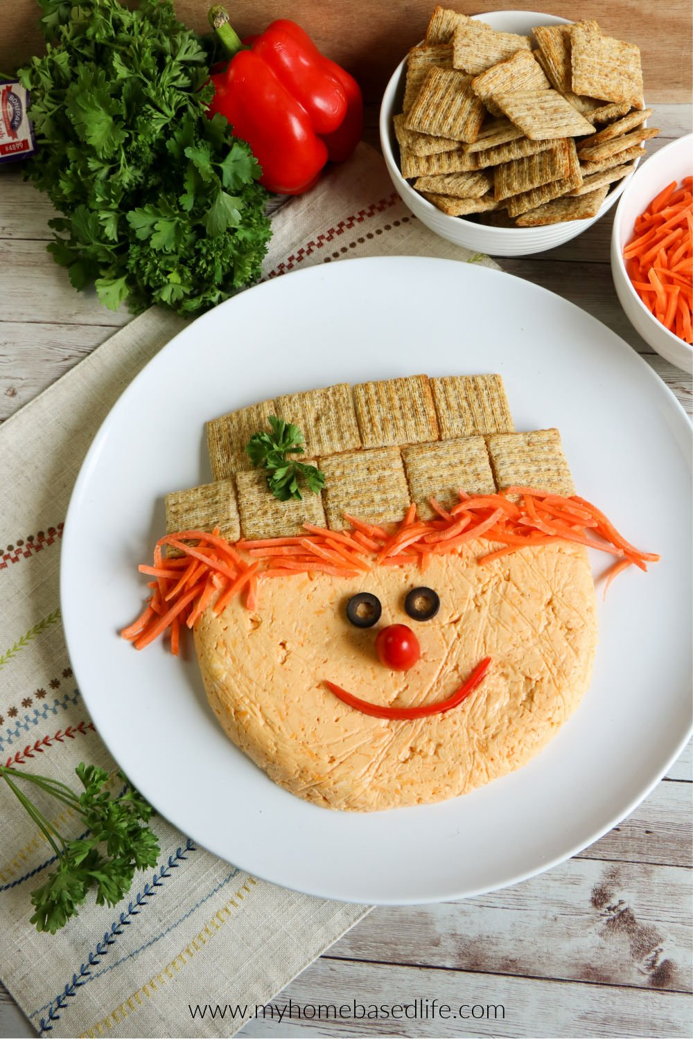 Scarecrow Cheese Ball appetizer for Thanksgiving