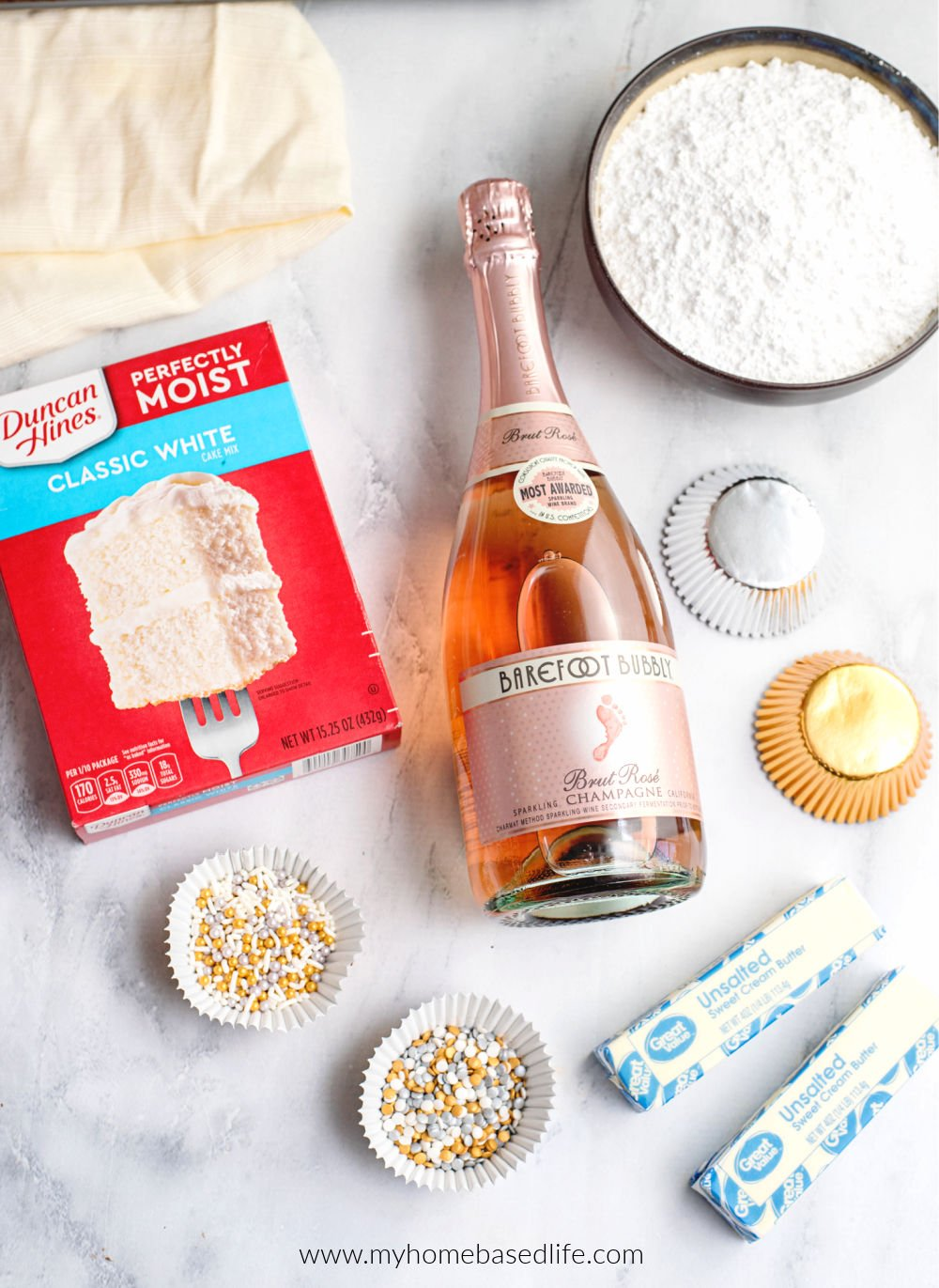 ingredients for champagne cupcakes
