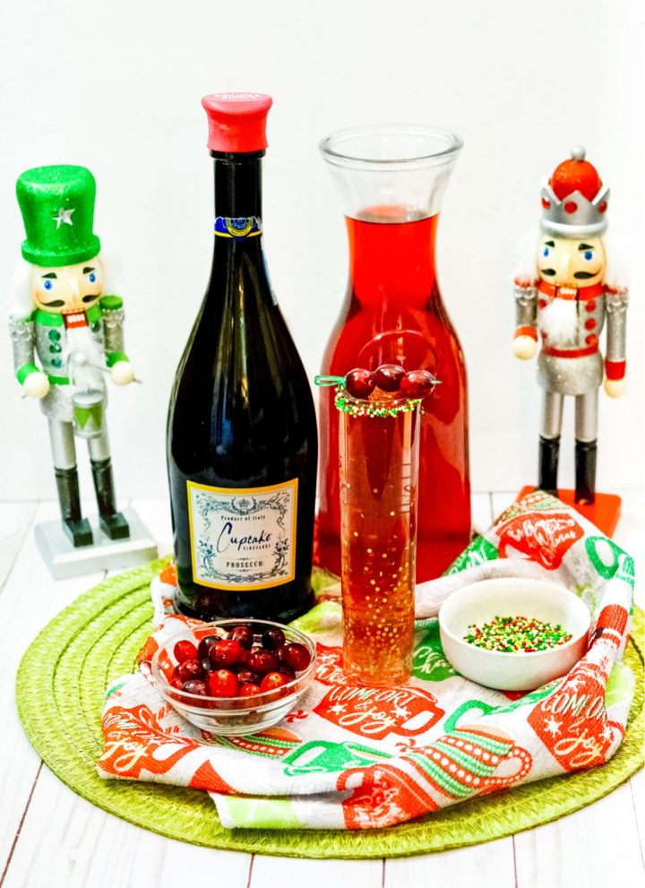 cranberry mimosa for Christmas or New Years