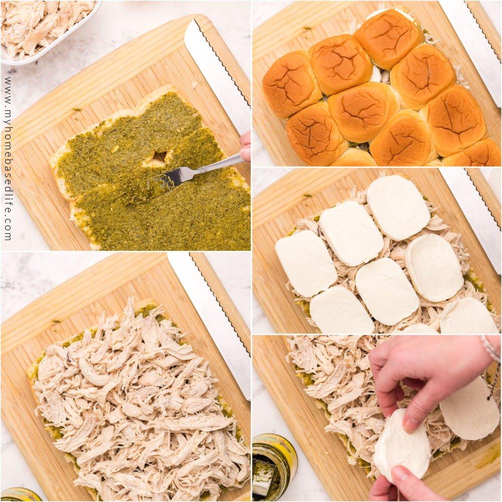 making chicken pesto sliders