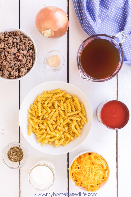 homemade cheeseburger pasta ingredients